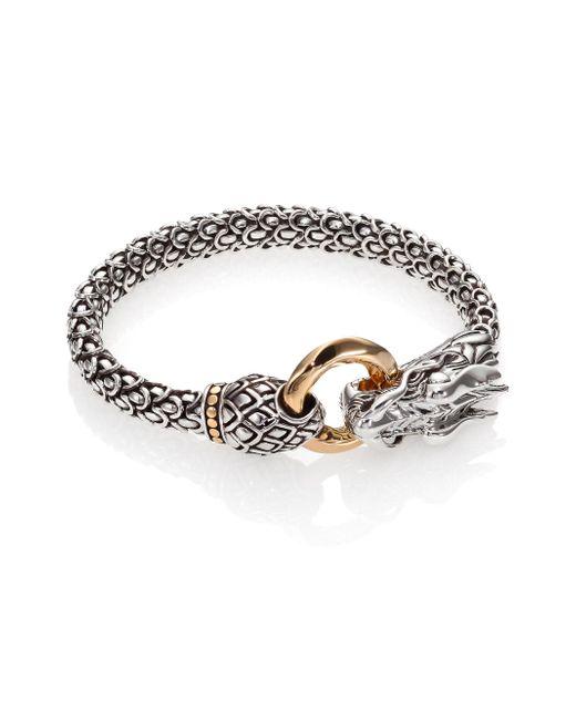John Hardy - Metallic Naga 18k Yellow Gold & Sterling Silver Dragon Bracelet - Lyst