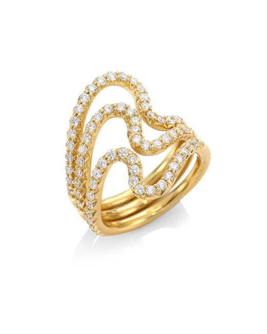 Carelle - Metallic Brushstroke N? 22 Diamond & 18k Yellow Gold Ring Set - Lyst