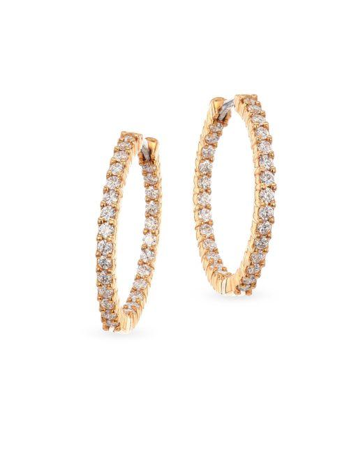 Roberto Coin - Metallic 18k Rose Gold & Diamond Hoop Earrings - Lyst