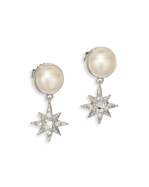 Anzie - Metallic Aztec Floating Micro Starburst 7mm-7.5mm White Mabé Pearl, White Topaz & White Sapphire Drop Earrings - Lyst