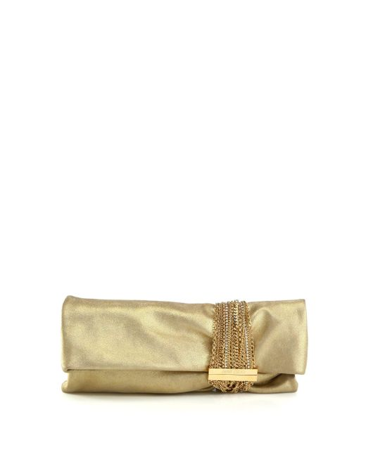 Jimmy Choo - Yellow Chandra Metallic Leather Clutch - Lyst