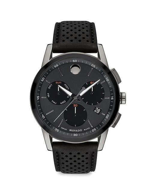Movado Black Musuem Sport Gunmetal Stainless Steel Leather-strap Chronograph Watch for men