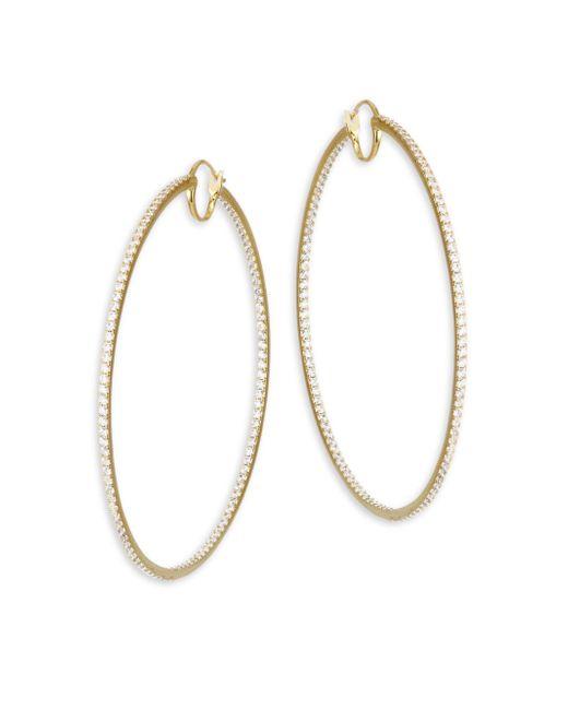 Adriana Orsini - Metallic Large Hinged Cubic Zirconia Oval Hoop Earrings - Lyst