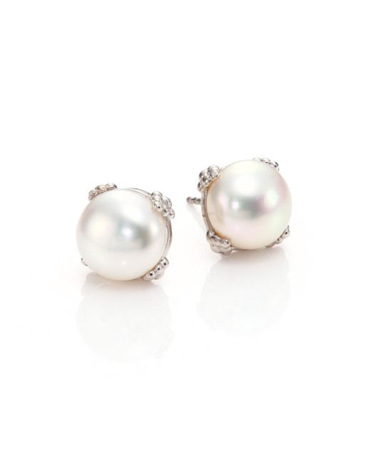 Anzie - White Dew Drop Pearl Earrings - Lyst