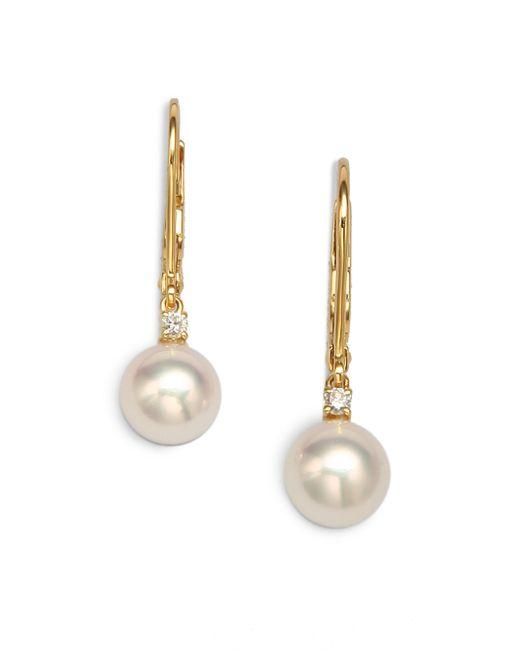 Mikimoto - 7mm White Cultured Akoya Pearl, Diamond & 18k Yellow Gold Leverback Earrings - Lyst