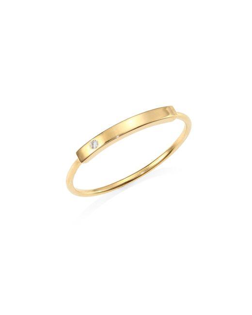 Zoe Chicco - Metallic Diamond Studded 14k Gold Bar Ring - Yellow Gold - Size 7 - Lyst