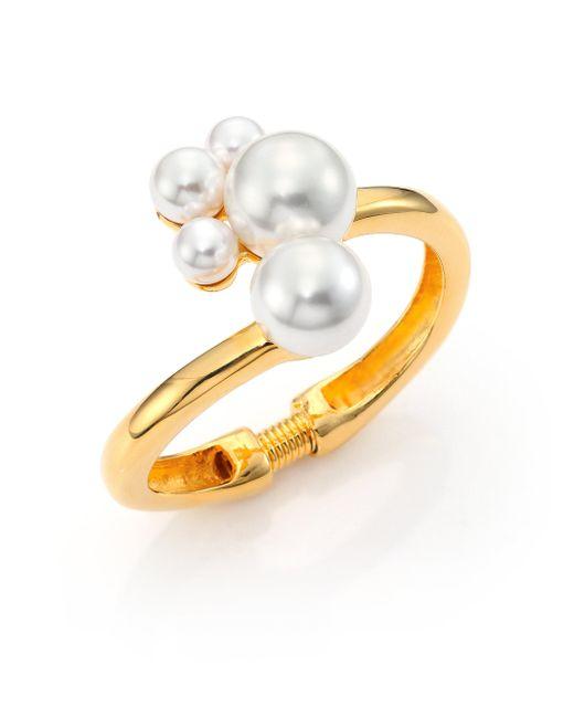 Kenneth Jay Lane - Metallic Faux Pearl Cluster Hinge Bracelet - Lyst