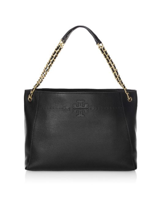 Tory Burch - Black Mcgraw Leather Slouchy Tote - Lyst