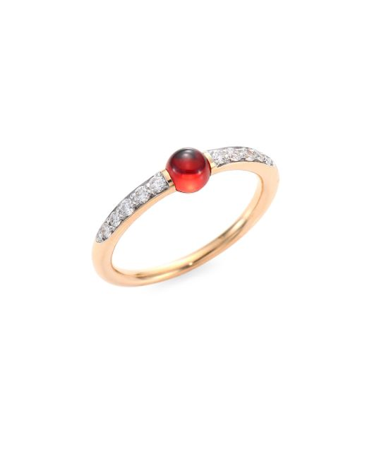 Pomellato - Metallic M'ama Non M'ama Diamond, Garnet & 18k Rose Gold Ring - Lyst