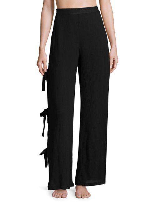 Jonathan Simkhai | Black Cotton Comb Side Tie Pants | Lyst