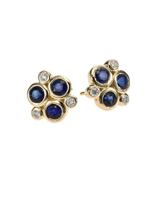 Temple St. Clair - Metallic Classic Color Sapphire, Diamond & 18k Yellow Gold Trio Earrings - Lyst