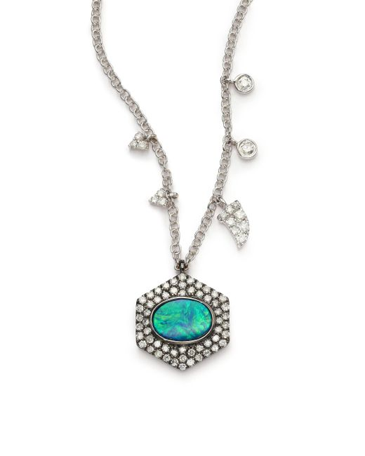 Meira T | Green Opal, Diamond & 14k White Gold Hexagon Pendant Necklace | Lyst