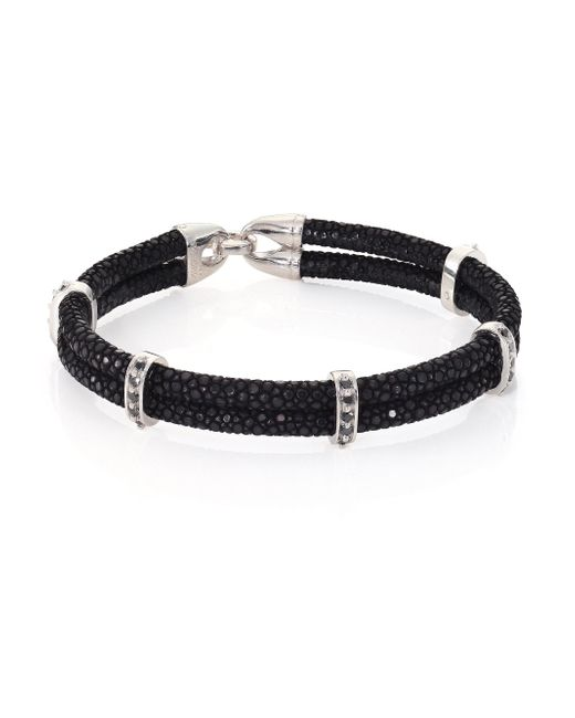 Stinghd Black Diamond, Silver & Stingray Wrap Bracelet for men