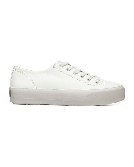 Vince White Heaton Leather Platform Sneakers