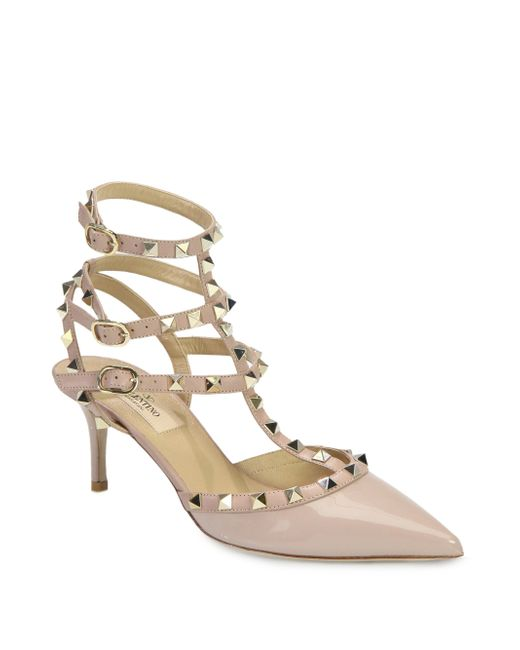 Valentino - Natural Rockstud Patent Leather Sandal - Lyst
