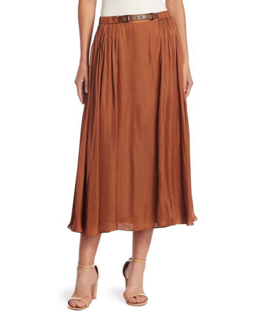 Halston Heritage - Brown Elastic Waist Maxi Skirt - Lyst