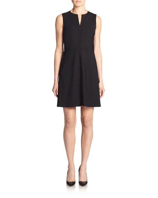 Theory   Black Miyani Edition Stretch Wool Fit-&-flare Dress   Lyst