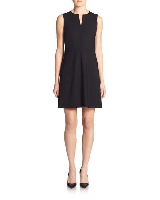 Theory - Black Miyani Edition Stretch Wool Fit-&-flare Dress - Lyst