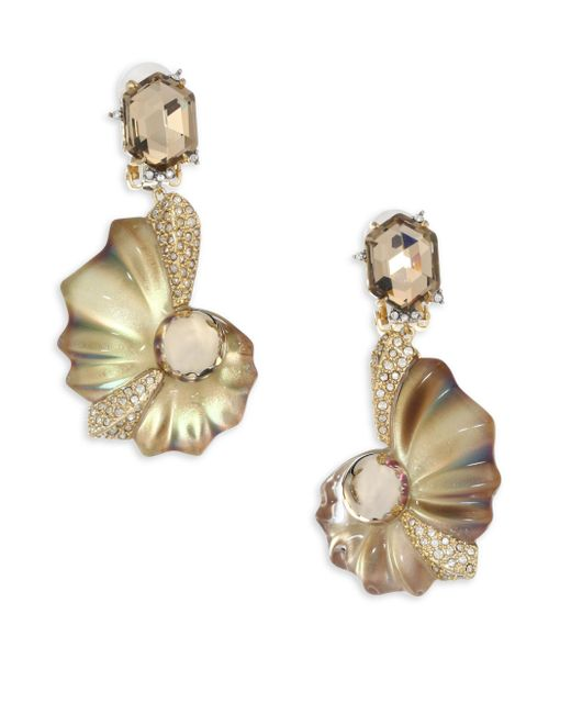 Alexis Bittar | Metallic Lucite Crystal Shell Clip-on Earrings | Lyst