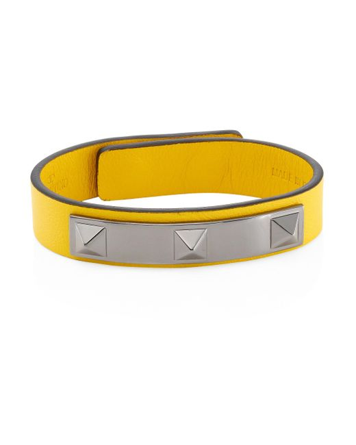 Valentino | Yellow Studded Leather Bracelet | Lyst