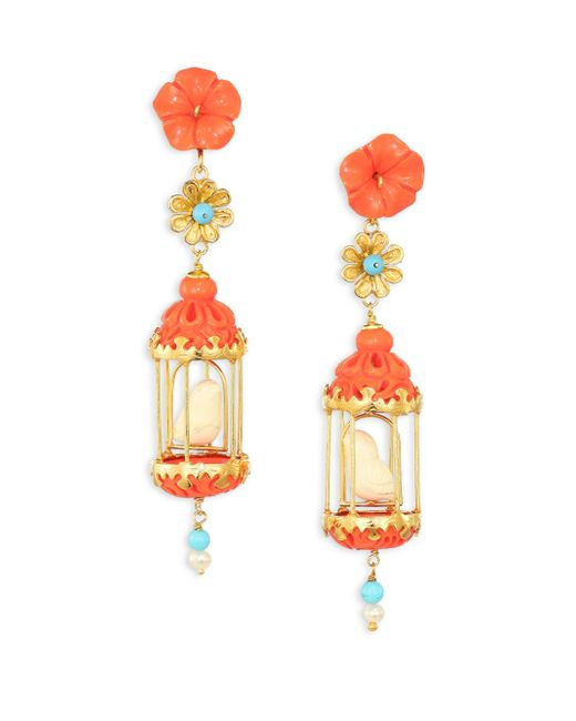 Of Rare Origin - Multicolor Aviary Classic Coral, Turquoise, Bone & Freshwater Pearl Drop Earrings - Lyst