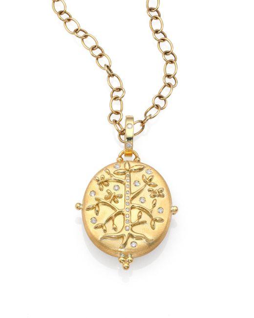Temple St. Clair - Metallic Tree Of Life Diamond & 18k Yellow Gold Locket - Lyst