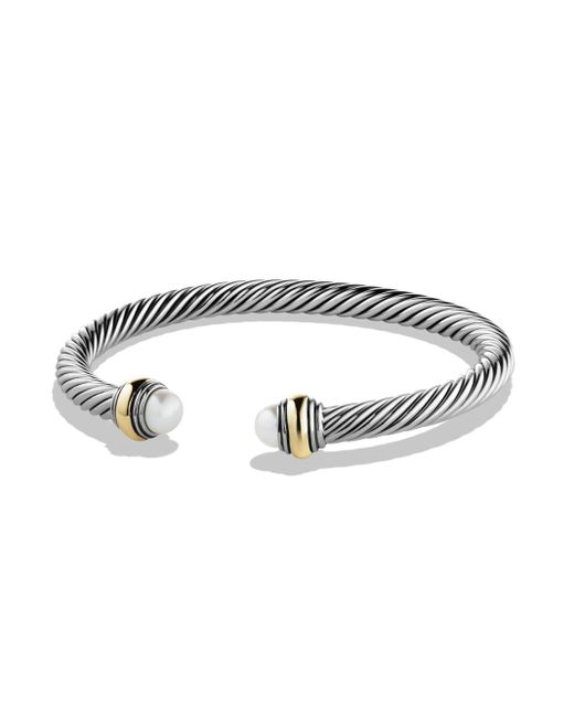 David Yurman Metallic Cable Classics Bracelet With Pearl And Gold
