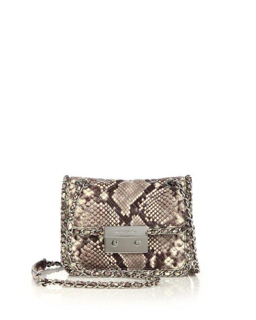 MICHAEL Michael Kors - Natural Carine Medium Quilted Snake-Embossed Leather Shoulder Bag - Lyst
