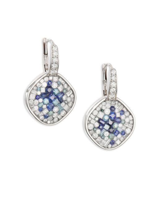 Plevé | Diamond, Blue Sapphire & 18k White Gold Cushion Drop Earrings | Lyst