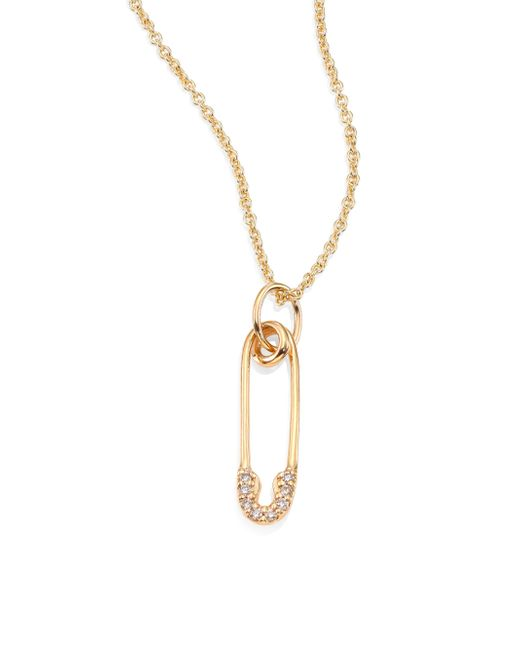 Sydney Evan - Metallic Safety Pin Diamond & 14k Yellow Gold Pendant Necklace - Lyst