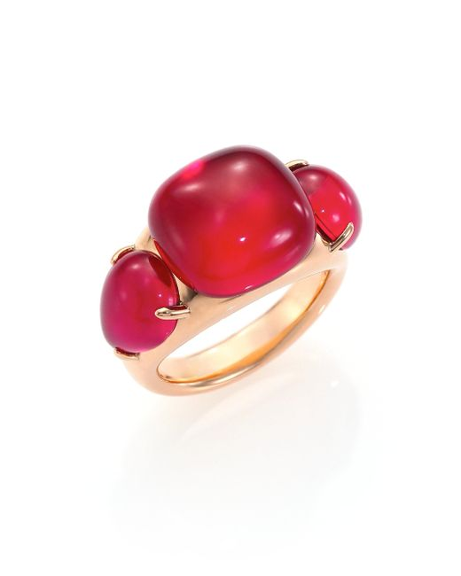 Pomellato - Red Rouge Passion Burma Three-stone Ring - Lyst