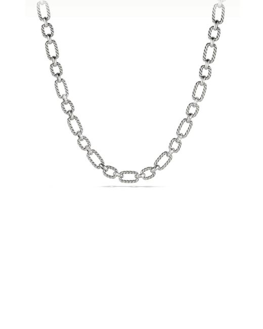 David Yurman - Metallic Cushion Link Chain Necklace With Diamonds - Lyst