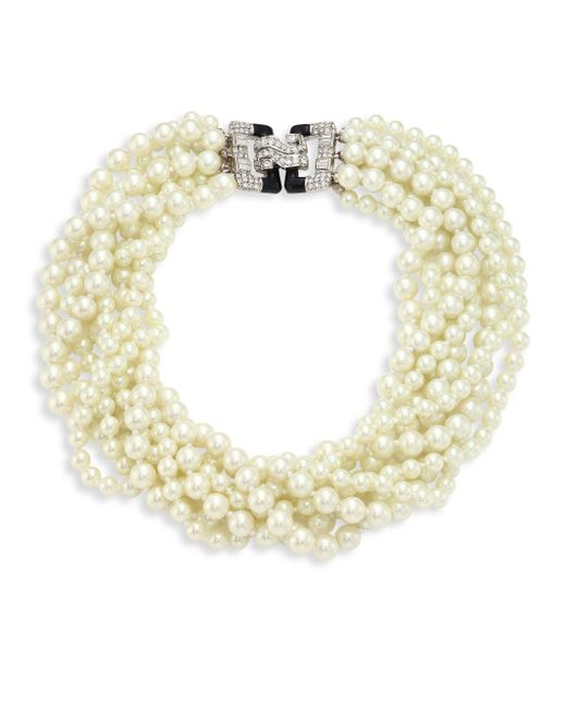 Kenneth Jay Lane - Metallic Eight Strand Faux-pearl Necklace - Lyst