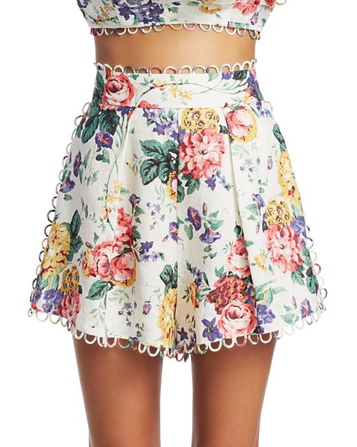 5fa0249c8 Zimmermann Allia Floral-print Linen Shorts in White - Save 4% - Lyst