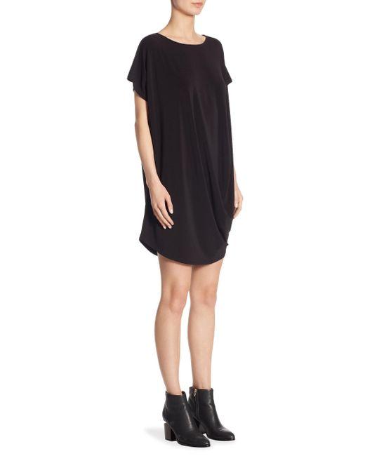 Issey Miyake - Black Draped Jersey Shift Dress - Lyst