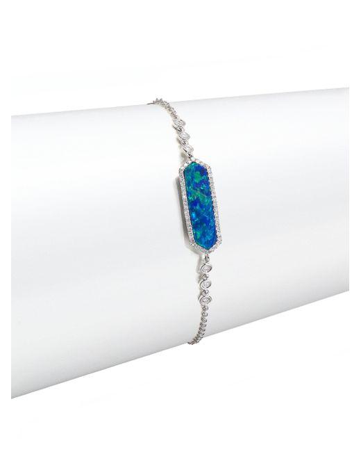 Meira T - Blue Opal, Diamond & 14k White Gold Long Hexagon Bracelet - Lyst