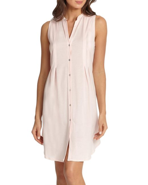 Hanro - Pink Button-front Tank Gown - Lyst