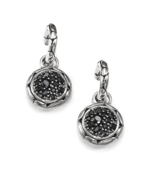 John Hardy - Metallic Kali Black Sapphire & Sterling Silver Small Hoop Drop Earrings - Lyst