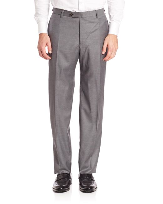 Isaia - Gray Flat-front Dress Pants for Men - Lyst