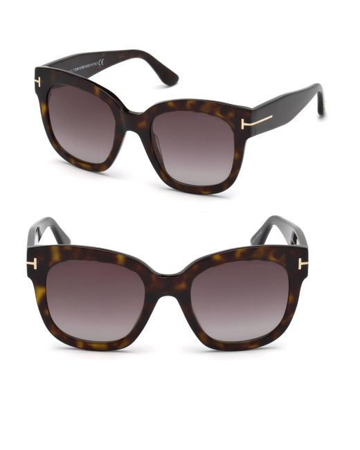 Tom Ford - Brown 55mm Beatrix Square Sunglasses - Lyst