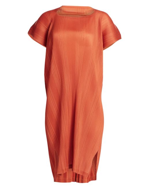 Pleats Please Issey Miyake Orange Double Pleats Short Sleeve Dress
