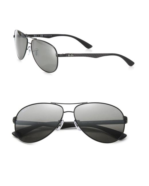 Ray-Ban | Black Pilot 61mm Mirrored Sunglasses for Men | Lyst