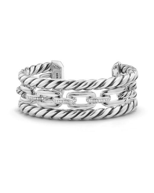 David Yurman - Metallic Wellesley Link Pave Diamond & Sterling Silver Three-row Cuff - Lyst