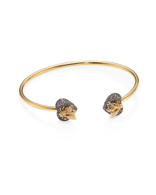 Gucci - Metallic Bee Heart Diamond, 18k Yellow Gold & Sterling Silver Bangle - Lyst