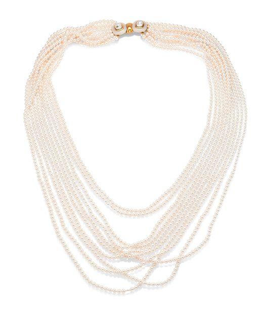 Oscar de la Renta - White Multi Strand Faux-pearl Necklace - Lyst