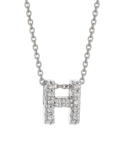Roberto Coin Metallic Tiny Treasures 18k White Gold & Diamond H Initial Pendant Necklace