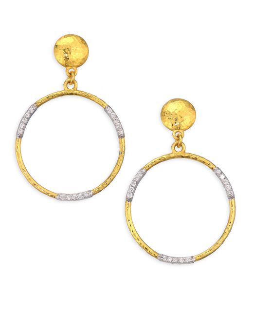 Gurhan - Metallic 22k Gold & Diamond Openwork Hoop Earrings - Lyst