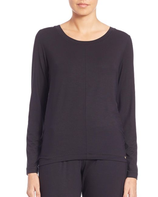 Hanro - Black Yoga Long-sleeve Top - Lyst