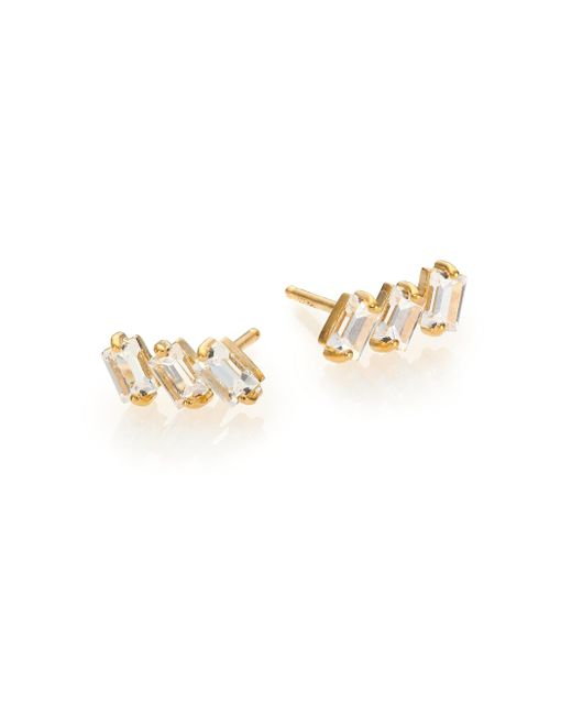Jennifer Zeuner | Metallic White Sapphire Triple Baguette Stud Earrings | Lyst