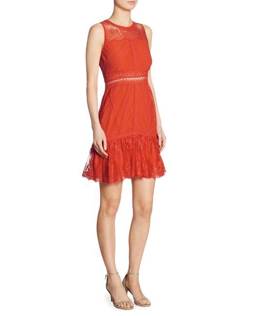 Jonathan Simkhai | Red Scalloped Ripple Tier Ruffle Lace Dress | Lyst